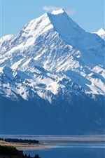 Preview iPhone wallpaper New Zealand, Mount Cook, Aoraki National Park, blue sky
