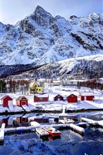 Norway, bay, mountains, houses, sky, clouds, snow, winter