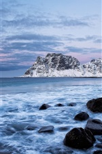 Preview iPhone wallpaper Norway, sea, mountains, rocks, winter