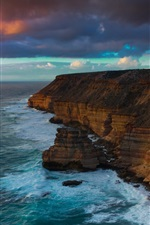 Preview iPhone wallpaper Ocean, sea, dawn, coast, cliffs