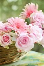 Preview iPhone wallpaper Pink rose, gerbera daisies, basket