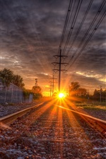 Preview iPhone wallpaper Rail, rails, sleepers, sunset, glare