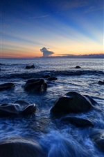 Preview iPhone wallpaper Rocks, sea, coast, sky, evening, sunset