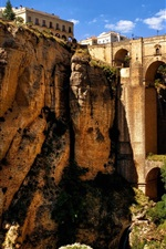 Preview iPhone wallpaper Ronda, Andalusia, Spain, mountains, rocks, houses, bridge, arch, canyon
