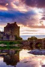 Preview iPhone wallpaper Scotland, castle, water reflection, sky, clouds, river, bridge