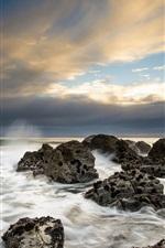 Preview iPhone wallpaper Sea, coast, rocks, clouds, dusk