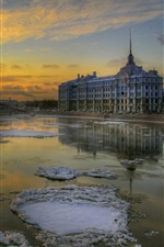 St. Petersburg, winter, snow, boat, buildings, sunrise