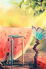 Preview iPhone wallpaper Summer, watermelon, girl, butterfly, art painting