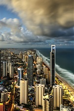 Preview iPhone wallpaper Surfers Paradise, Gold Coast, Australia, city, skyscrapers, ocean