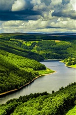 Preview iPhone wallpaper UK, river, fields, forest, clouds, nature scenery