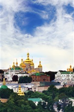 Preview iPhone wallpaper Ukraine, temple, monastery, city, sky, clouds