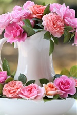 Preview iPhone wallpaper Vase, pink rose flowers, bokeh
