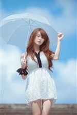 Preview iPhone wallpaper White dress Asian girl, umbrella, blue sky