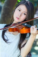Preview iPhone wallpaper White dress Asian girl, violin, music