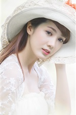 Preview iPhone wallpaper White dress asian girl, hat
