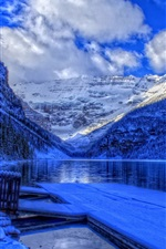 Preview iPhone wallpaper Winter, Banff National Park, Alberta, Canada, lake, snow, house
