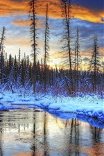 Preview iPhone wallpaper Winter, snow, trees, river, creek, forest, mountains