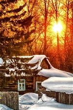 Preview iPhone wallpaper Winter, trees, house, sunrise, snow