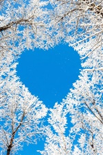 Preview iPhone wallpaper Winter, trees, snow, white, sky, love heart