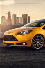 Preview iPhone wallpaper Yellow Ford Focus ST car side view