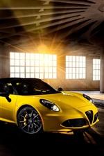 Preview iPhone wallpaper 2015 Alfa Romeo 4C yellow supercar