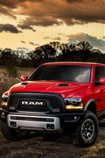 Preview iPhone wallpaper 2015 Ford Ram 1500 red pickup
