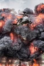 Preview iPhone wallpaper AH-64 Apache helicopter, explosion