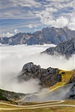 Alps, mountains, road, trees, sky, clouds, fog, Bavaria, Germany