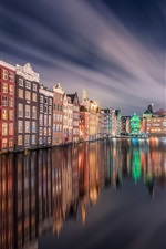 Preview iPhone wallpaper Amsterdam, night, home, lights, river, water reflection