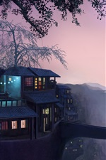 Preview iPhone wallpaper Art painting, dusk, house, trees, light, bridge