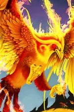 Preview iPhone wallpaper Art pictures, golden phoenix, bird, fire, wings