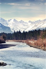 Preview iPhone wallpaper Autumn, mountains, forest, river, trees, snow