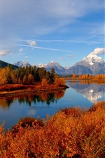 Preview iPhone wallpaper Autumn, trees, mountain, forest, river, sky