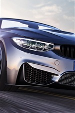 BMW M4 sport car front view, speed, road