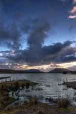 Preview iPhone wallpaper Barnesmore Gap, Lough Mourne, lake, Ireland, evening, dusk