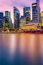 Preview iPhone wallpaper Beautiful city, Singapore, evening, lights, skyscrapers, bridge, bay