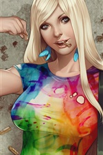 Preview iPhone wallpaper Blonde girl, colorful clothes, fantasy