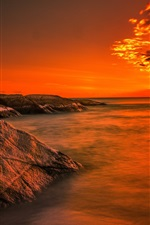Preview iPhone wallpaper Coast, ocean, sunrise, rocks, beach