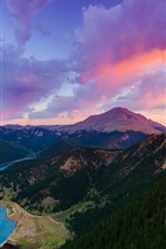 Preview iPhone wallpaper Colorado, USA, mountain, Pikes Peak, lake, forest, sunset