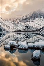 Preview iPhone wallpaper Convict Lake, Mount Morrison, California, USA, mountains, rocks, winter