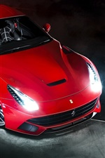 Preview iPhone wallpaper Ferrari F12 Berlinetta red supercar front view