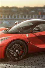 Preview iPhone wallpaper Ferrari LaFerrari red supercar side view, road