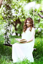 Preview iPhone wallpaper Grass, tree, spring, white dress girl read book
