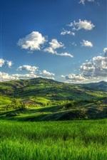 Preview iPhone wallpaper Hills, summer, green fields, tree, clouds