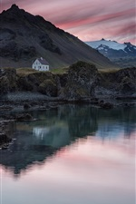 Preview iPhone wallpaper Iceland, village, house, mountain, lake, evening, sunset