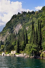 Preview iPhone wallpaper Italy, Como, lake, mountains, trees, houses