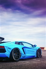 Preview iPhone wallpaper Lamborghini Aventador LP700-4 Blue Shark supercar