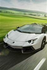 Lamborghini Aventador LP700-4 white roadster speed