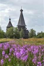 Preview iPhone wallpaper Leningrad region, temple, Church, Russia, flowers, grass