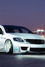 Lexus GS300 silver car, night, lights